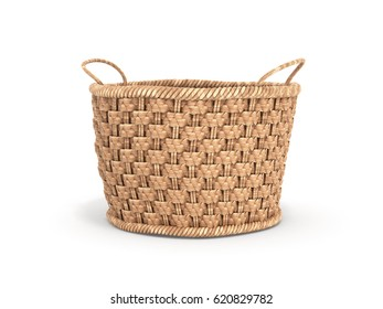 Empty wicker basket isolated on white background 3d