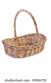 Empty wicker basket isolated on white background with shadow