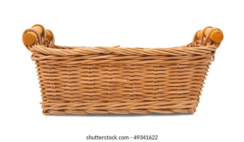 Empty wicker basket. Isolated over white with clipping path