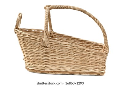 Empty wicker basket on isolated white backgrounds