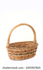 Empty wicker basket on white background.