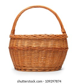 An empty wicker basket on white background.