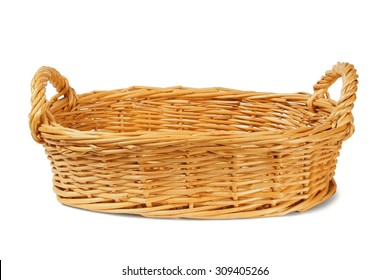 Empty wicker basket on white background