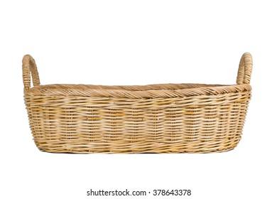 Empty wicker basket on white background