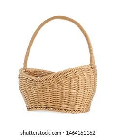 Empty wicker picnic basket on white background