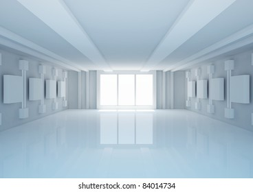 empty wide room with futuristic construction and balks, shop interior  - 3d illustration