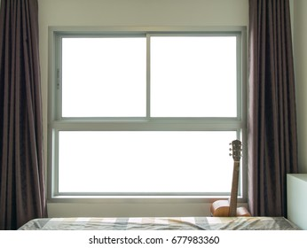 Empty window frame and guitar in the brown tone bedroom for interior design concept