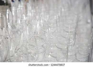 Empty wine glasses display
