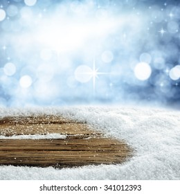 empty winter background for your decoration and dark wooden top place