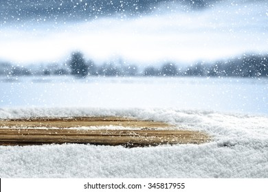 empty winter background for your decoration and snow and table