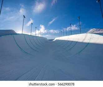 Empty winter snow halfpipe