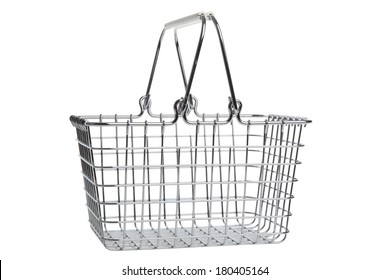 Empty wire shopping basket isolated on white background