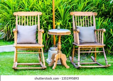 Empty wood chair outdoor garden around patio