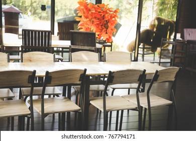 empty wood chair in restaurant