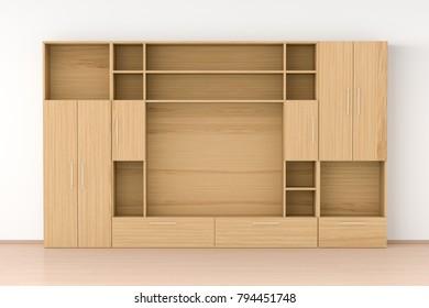 Empty wood closet wardrobe in interior. 3d illustration