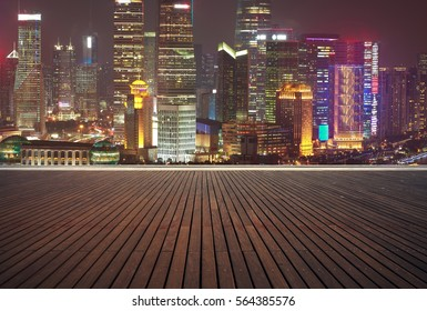 Empty wood floor textured with Aerial photography bird-eye view at Shanghai bund Skyline of sunrise