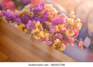 Empty wood floors and blurry dried flower backgrounds Use wood wallpaper or packaging background with Copyscape products to place your products or text to advertise the product.