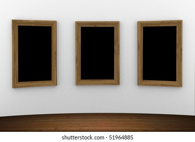 Empty wood frames hanging on the wall