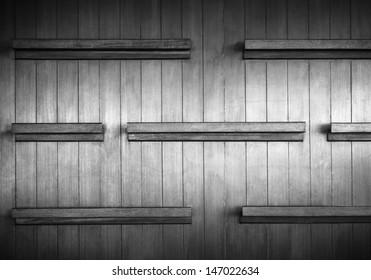 Empty wood shelf on wood decorative wall