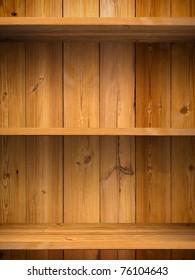 Empty wood shelf on wooden wall