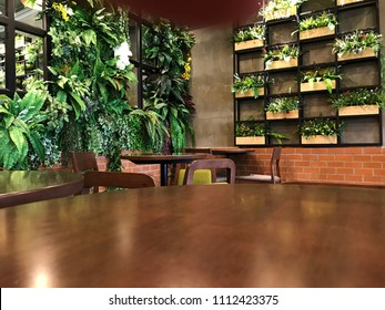 Empty wood table with artificial plant decoration on the wall of ecology design interior. Fake tree from plastic plants ornament design on the wall of green office.