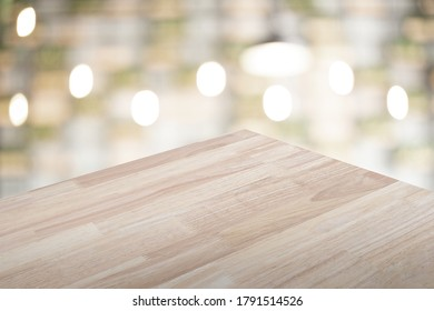empty wood table with blurred background for display your product.