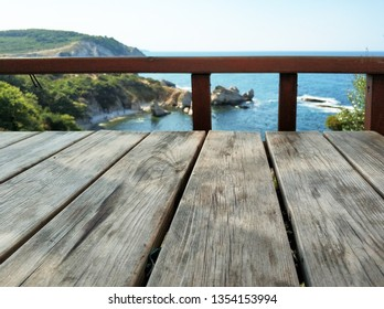 Empty wood table with nature background
