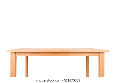 Empty wood table on white background