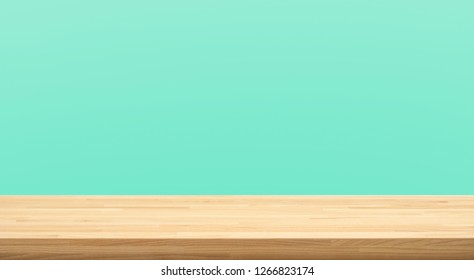 Empty of wood table top on green pastel color background.For montage product display or design key visual layout