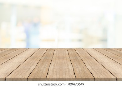 table top. Empty Wood Table Top On White Blurred Background,for Montage Your Products