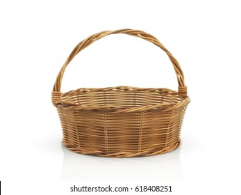 Empty wooden basket on white background. 3d illustration