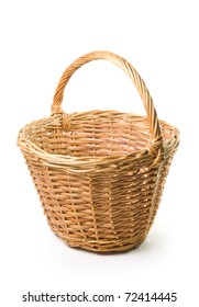 Empty wooden basket on a white background