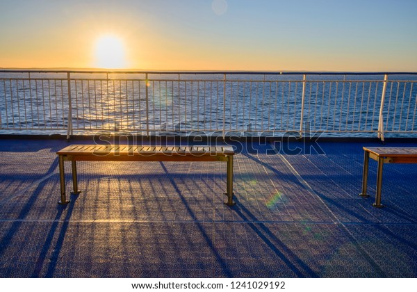 Surprising Empty Wooden Bench Ferry Boat Sunset Stock Photo Edit Now Caraccident5 Cool Chair Designs And Ideas Caraccident5Info