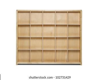Empty wooden bookshelf isolated on white background