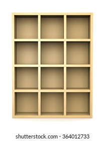 Empty Wooden Bookshelf on White Background