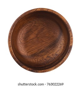 Empty wooden bowl isolated on white background with clipping path. Top view