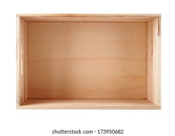 Empty wooden box. Isolated on white background