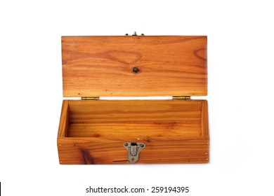 Empty wooden box on white background.