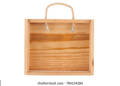 empty wooden box with rope handle isolated on white background