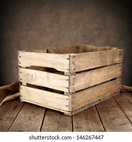 empty wooden box and wooden table
