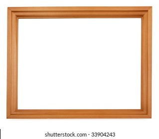 Empty wooden cedar picture frame isolated on white