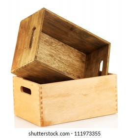 empty wooden crates isolated on white