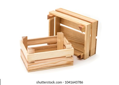 Empty wooden crates on a white background.