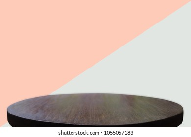 Empty wooden desk of free space and colour pastel for a catering or food background,Template mock up for display montages of product.