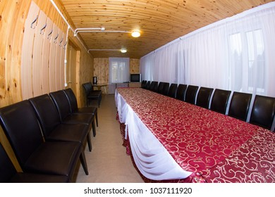 Empty wooden dining room