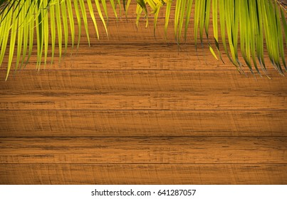 Empty wooden floor and coconut leaf background