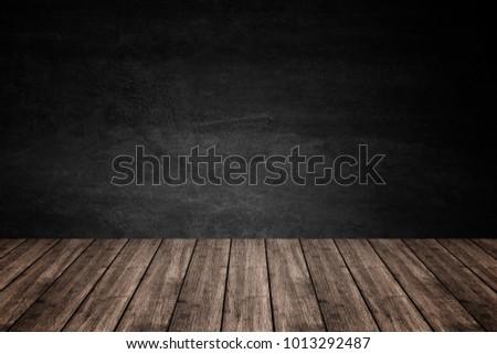 Empty Wooden Floor Dark Concrete Wall Stock Photo Edit Now