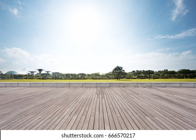 empty wooden floor near park in blue sky