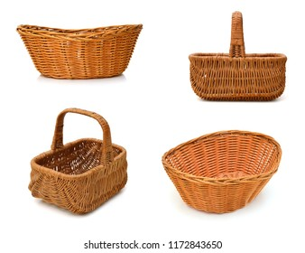 Empty wooden fruit or bread baskets on white background