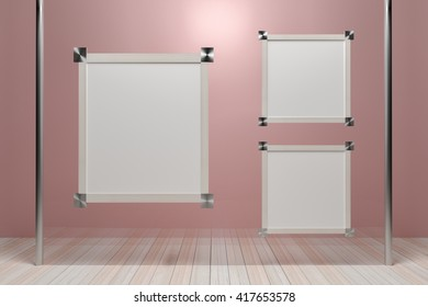 Empty wooden picture frame on glass walls. - 3D render image.